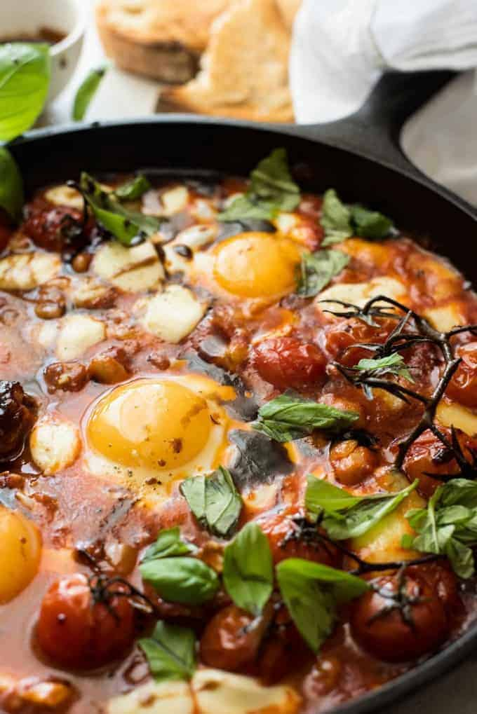 Closeup of Caprese Baked Eggs