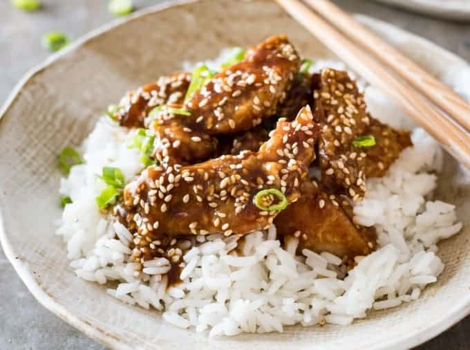 Closeup of Chinese Honey Sesame Chicken