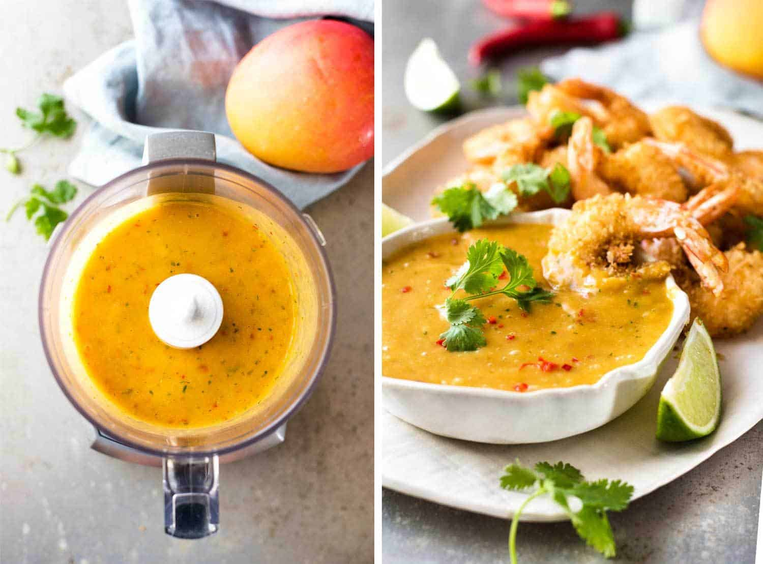 Coconut Shrimp / Prawns with Spicy Thai Mango Sauce in blender and finished sauce