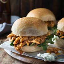 Slow Cooker Honey Buffalo Chicken Sliders