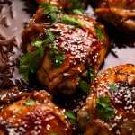Close up photo of freshly baked Honey Soy Baked Chicken