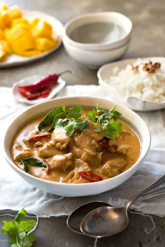 Mango Thai Red Curry with Chicken - Restaurant quality, extra saucy, thick and creamy, 1/3 less calories, this Thai Red Curry is truly incredible.