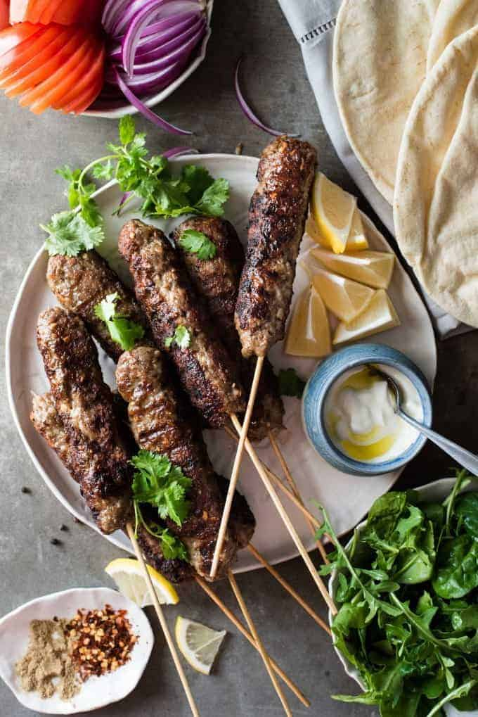 Turkish Lamb Kebab Kofta on skewers
