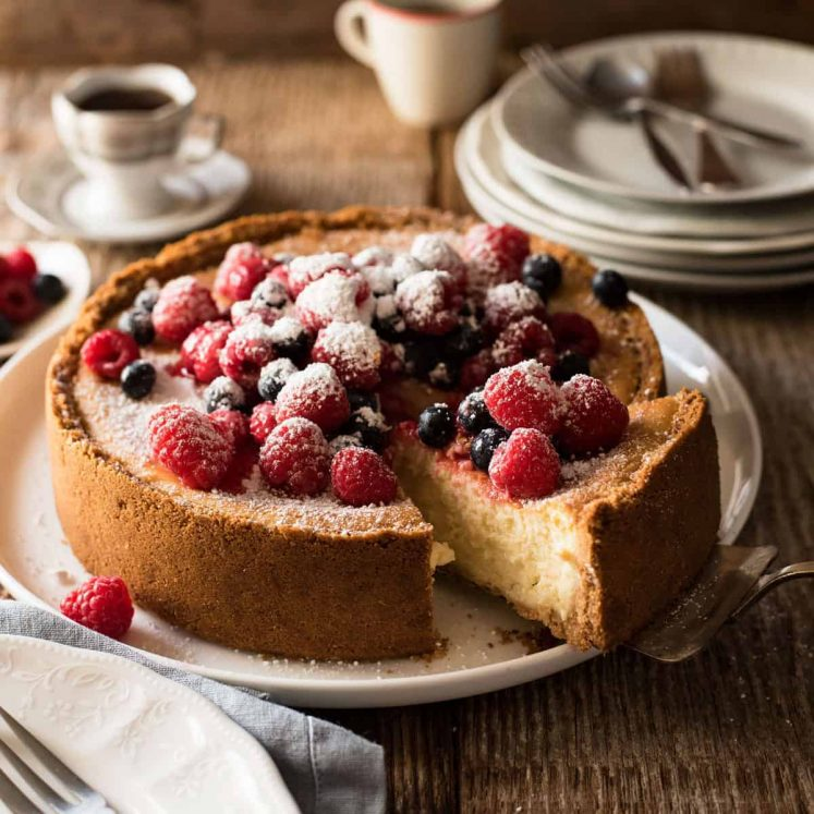 Baked Cheesecake decorated with berries