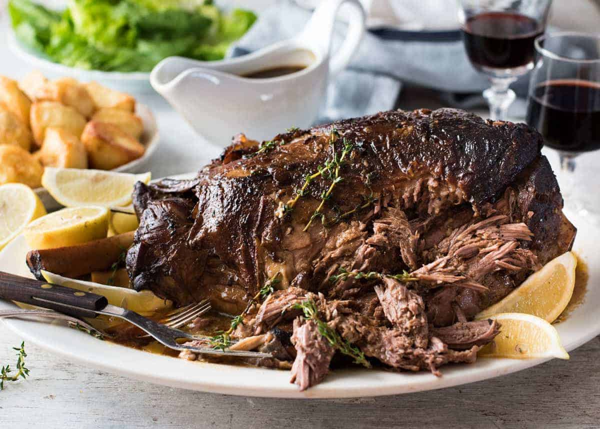 Slow Roasted GREEK Leg of Lamb - Tender fall apart lamb made the Greek ...