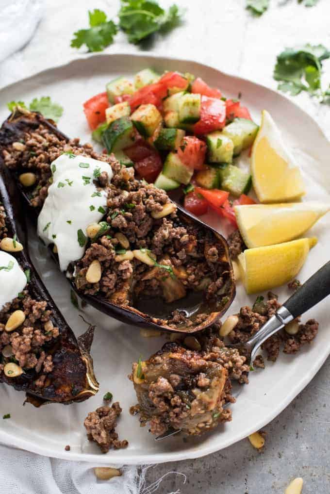 Moroccan Baked Eggplant with Beef with cucumber and tomato salad