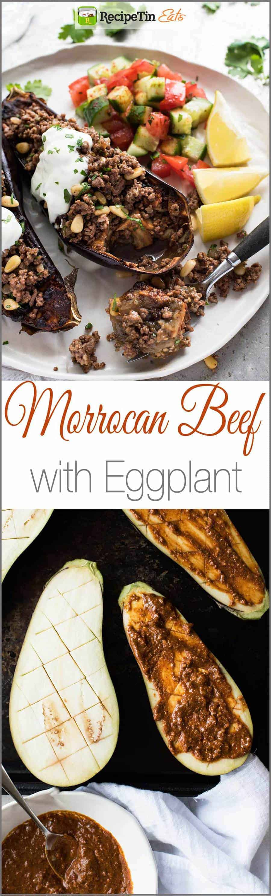Moroccan Baked Eggplant with Beef - A simple but amazing spice mix forms the base of this incredible meal that happens to only be 460 calories a serving.