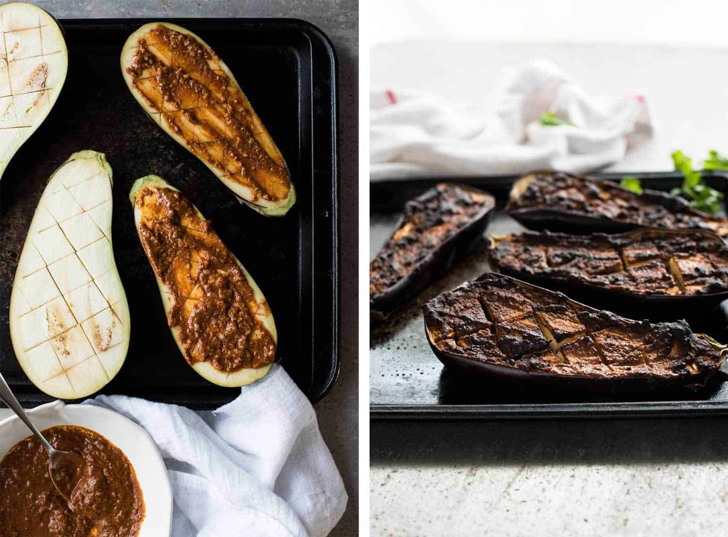 Moroccan Baked Eggplant with Beef smeared with chermoula before baking, and result after baking