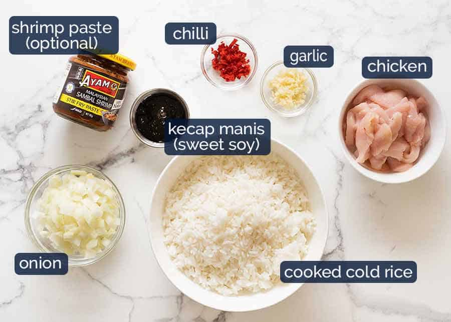 Ingredients in Nasi Goreng (Indonesian Fried Rice)