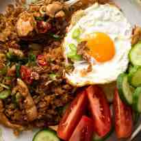 Close up of Nasi Goreng om a plate, ready to be eaten