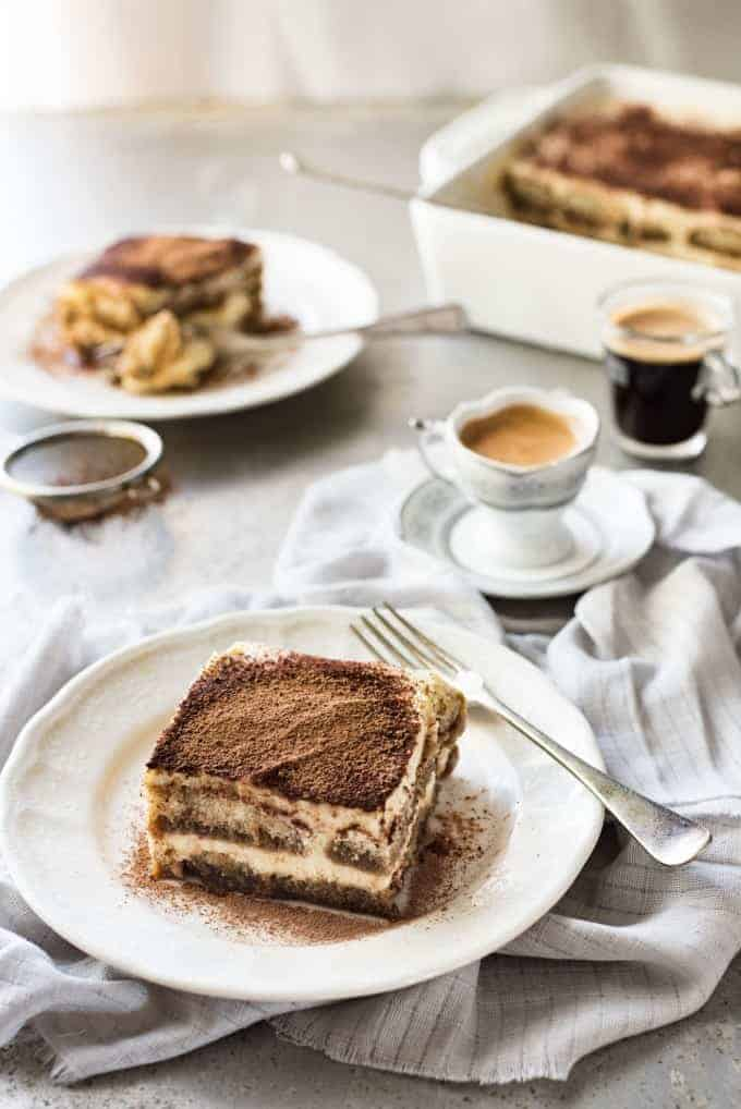 Table setting with Easy Tiramisu and cups of coffee