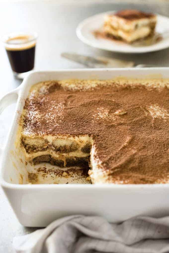 Inside of set Easy Tiramisu in a dish