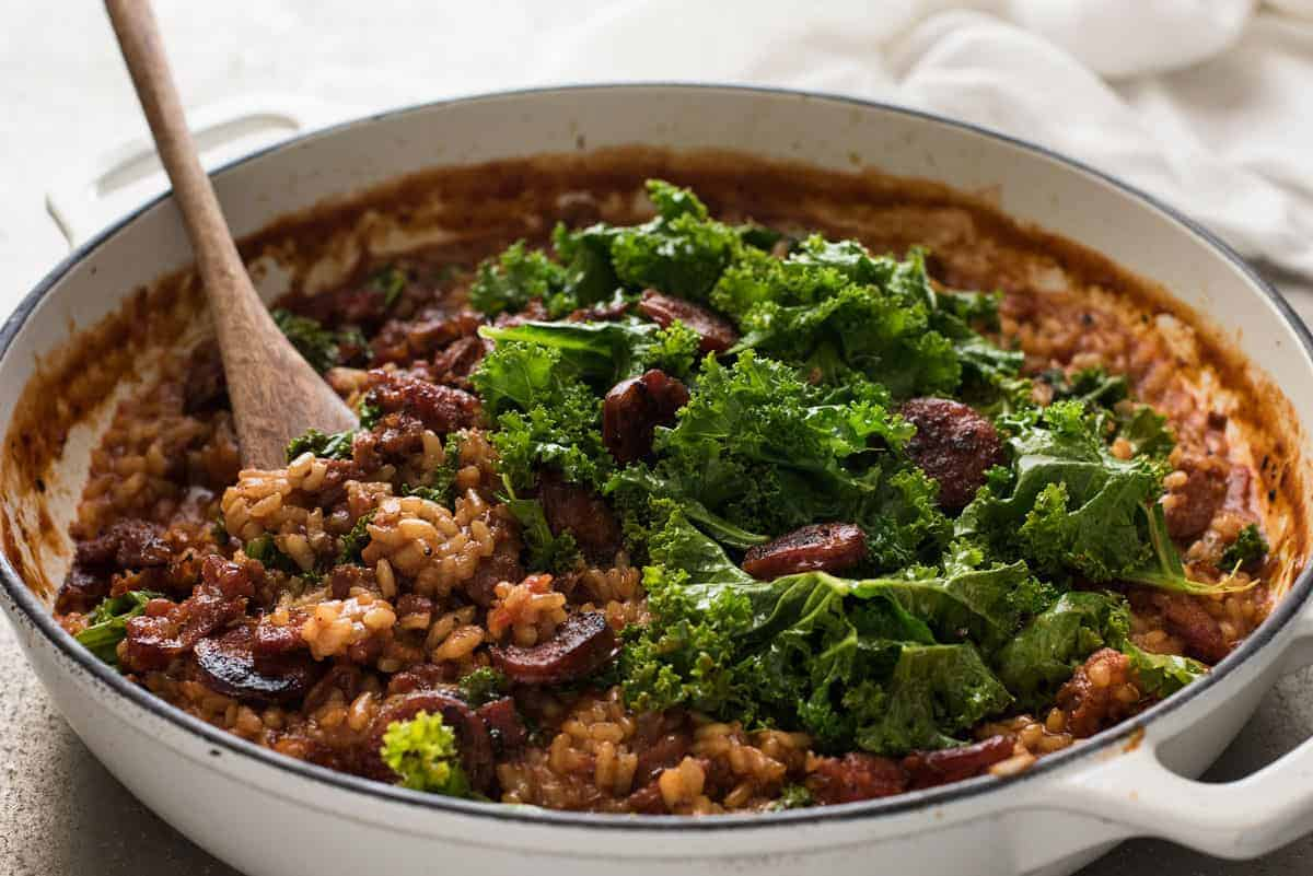 A pot of Chorizo Risotto with Kale