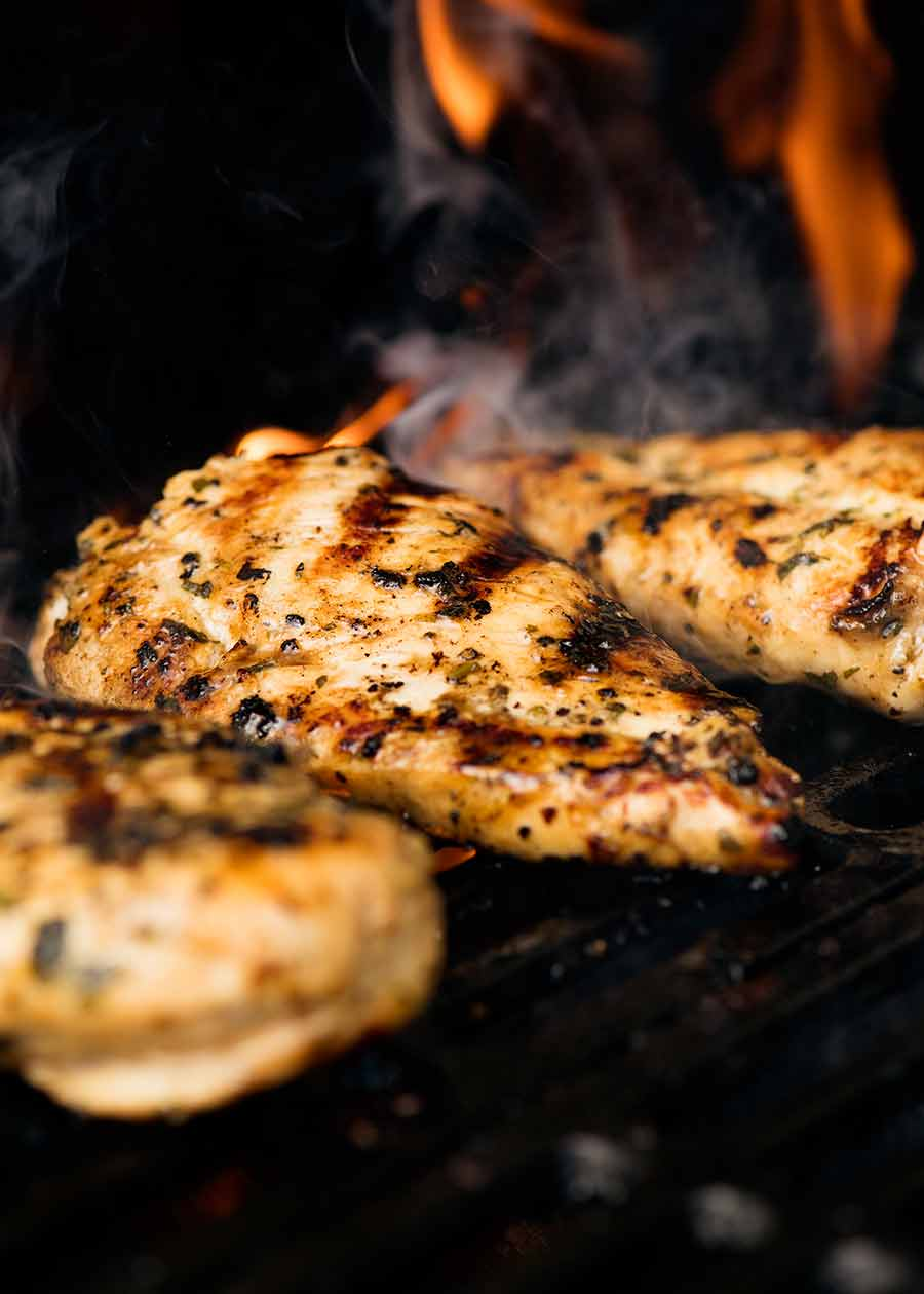 Cilantro Lime Chicken being grilled on the BBQ