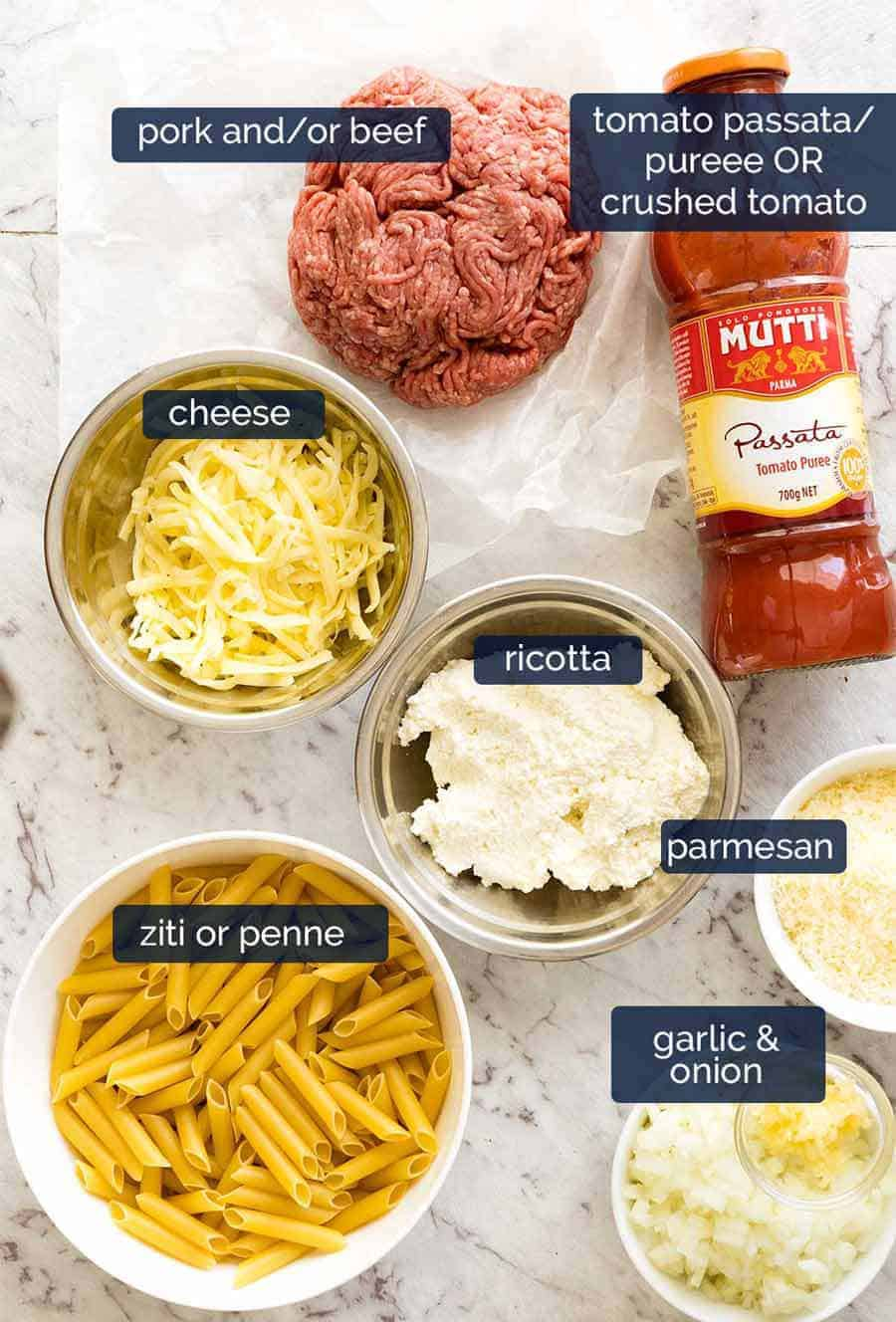 Ingredients in Baked Ziti