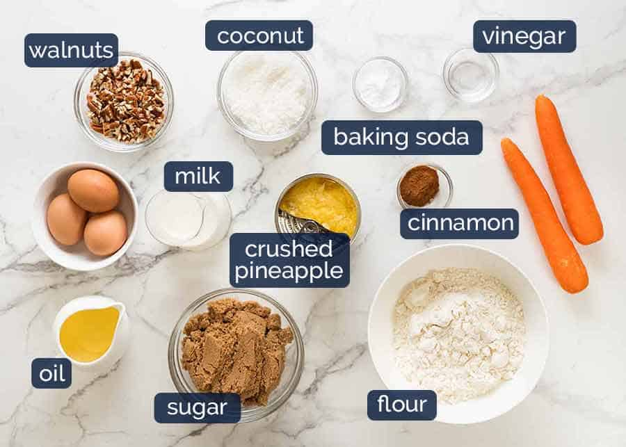 Ingredients in Carrot Cake