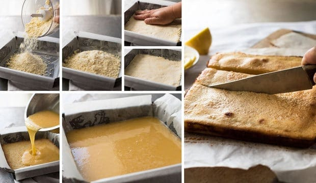 Photo sequence showing steps to make Easy Lemon Bars