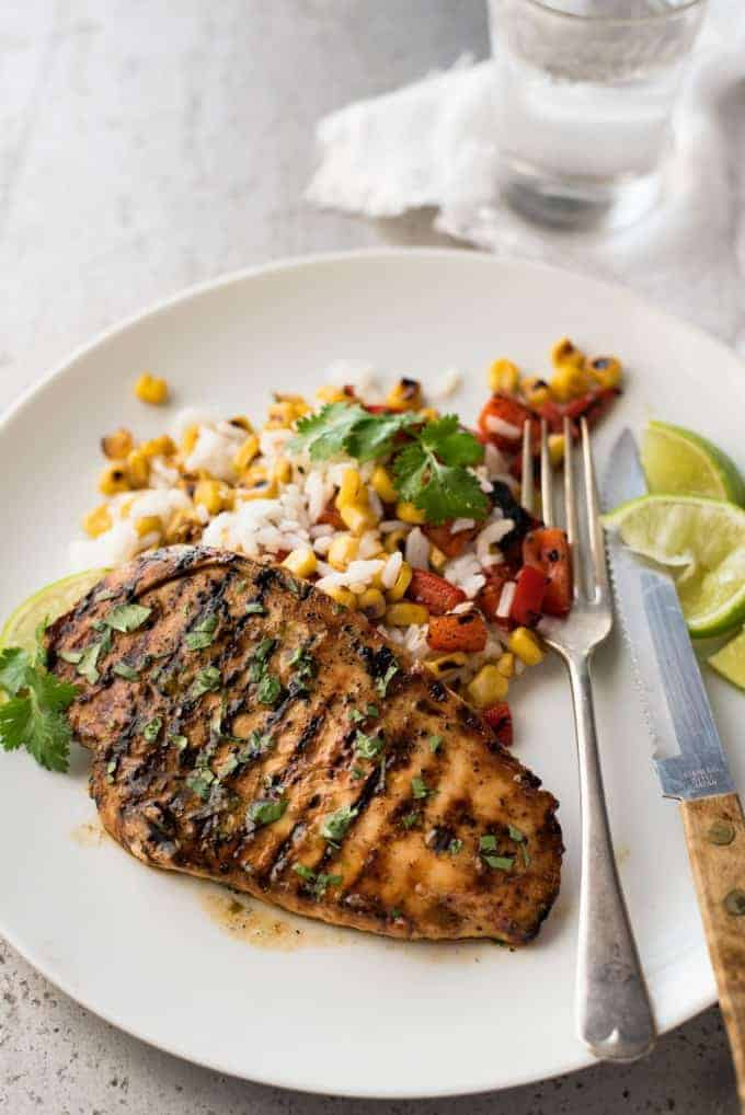 Cilantro lime chicken with corn salad side