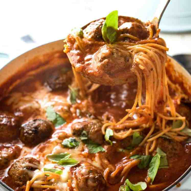 Italian Meatball Soup - Extra juicy, soft & tasty meatballs in a tomato spaghetti soup, all made in one pot!