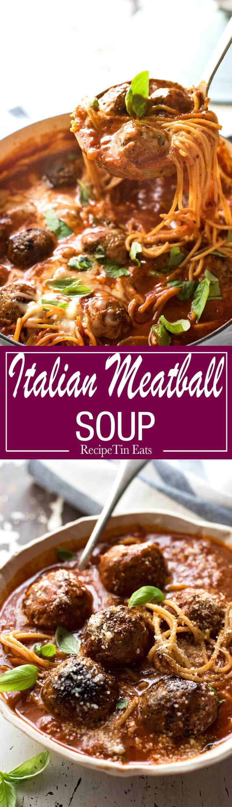 Italian Meatball Soup - Extra juicy, soft & tasty meatballs in a tomato spaghetti soup, all made in one pot! recipetineats.com