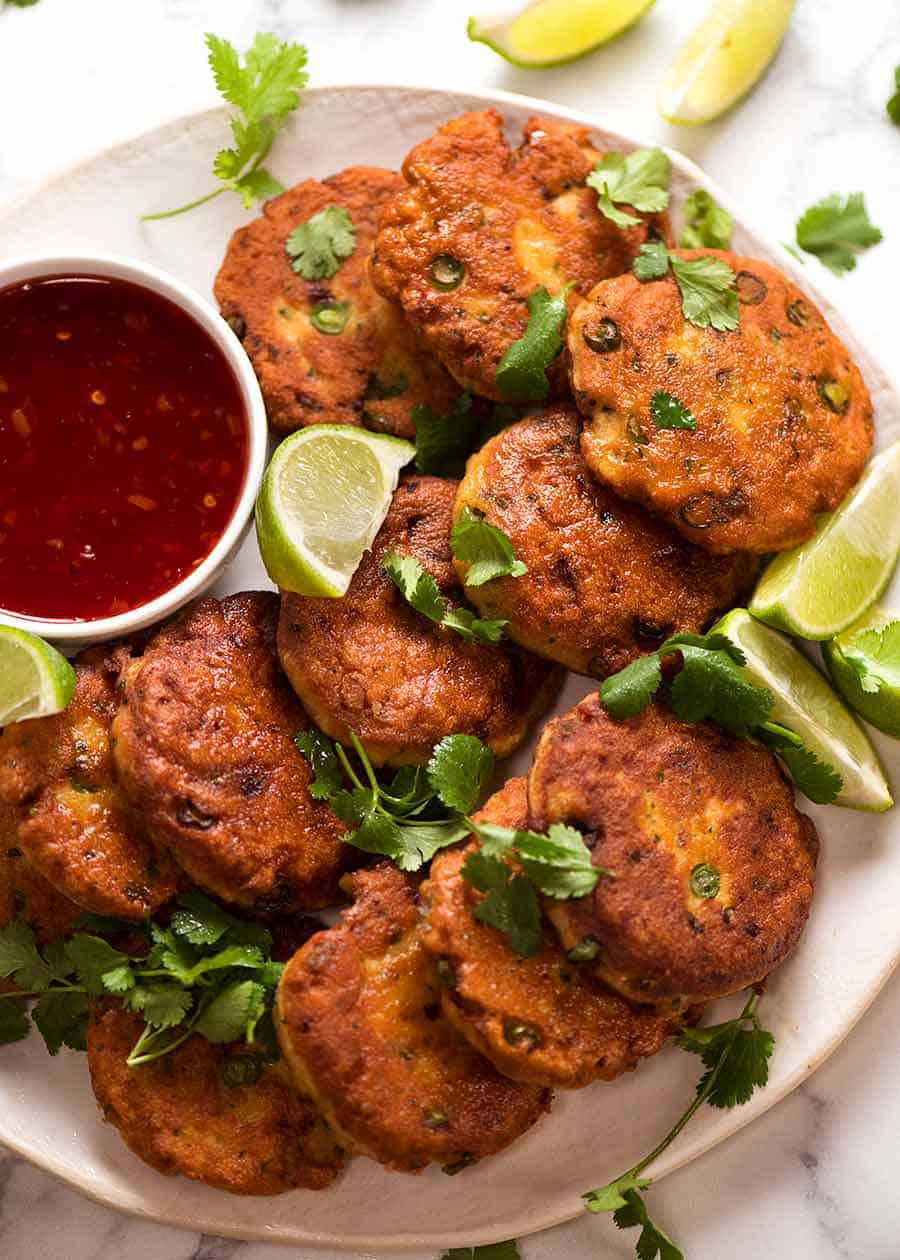 Overhead photo of Thai Fish Cakes on a white plate