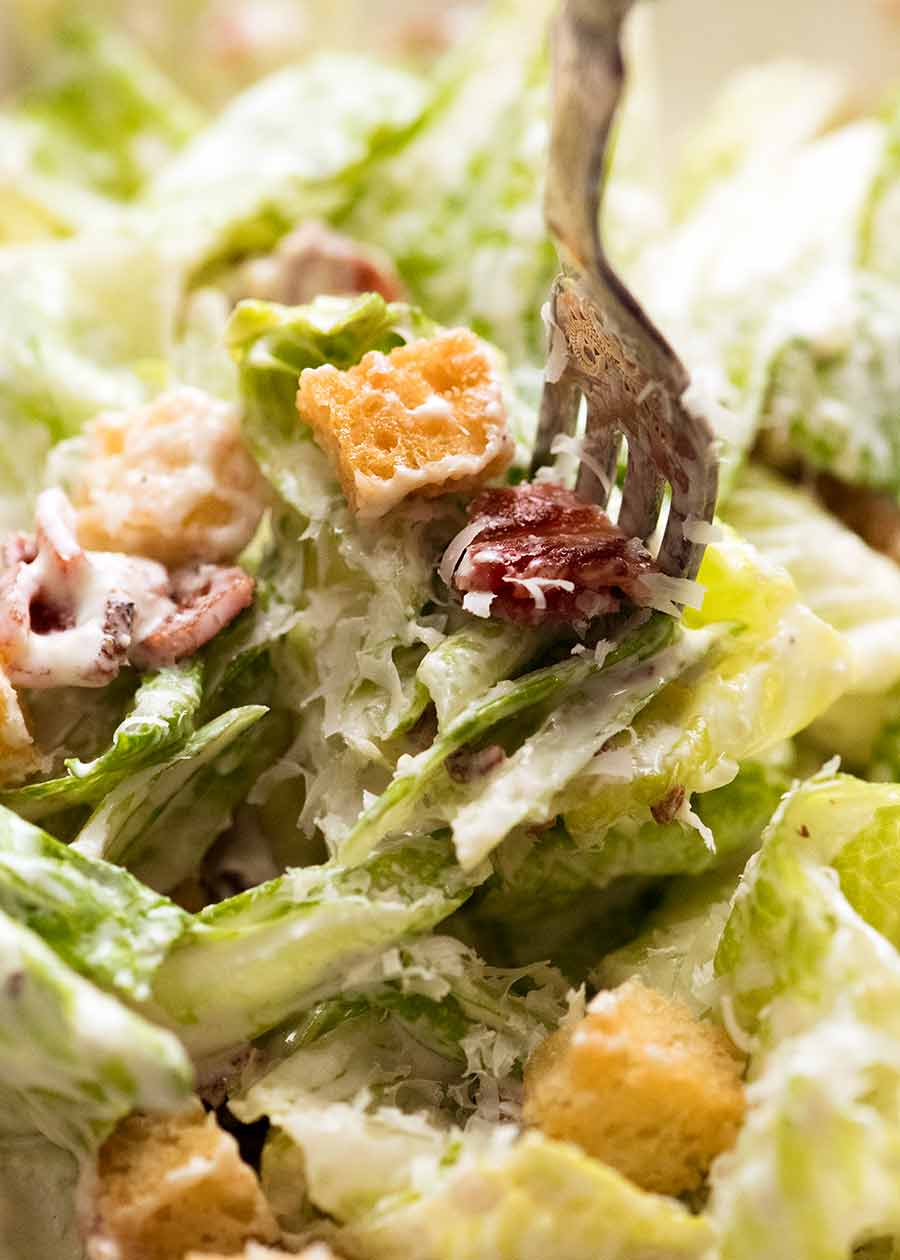 Eating Caesar Salad