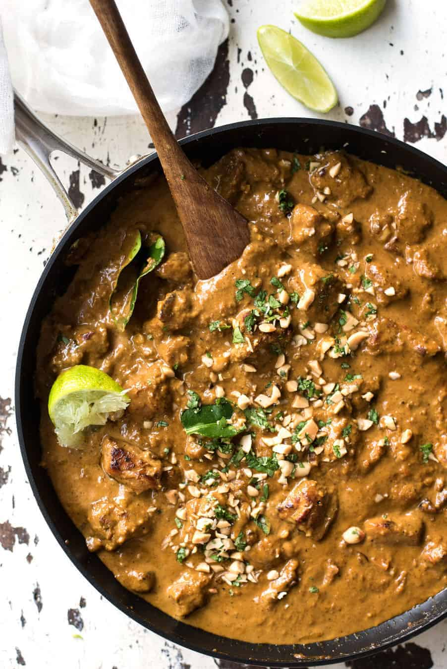 Chicken Satay Curry - Satay lovers dream come true! Chicken marinated in an authentic homemade satay seasoning simmered in a peanut satay sauce. Authentic restaurant / chef recipe, easy to make!