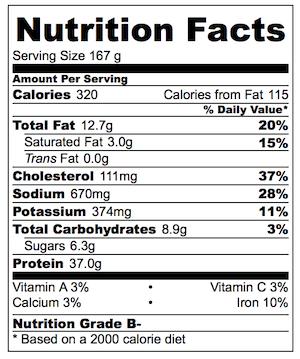 Asian Marinated Chicken Nutrition