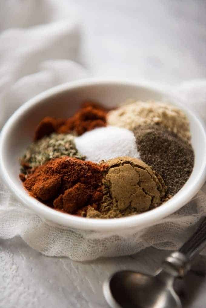 Homemade Enchilada Spice Mix in a small white dish