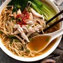 Overhead photo of Chinese Noodle Soup with chicken, noodles and buk choi