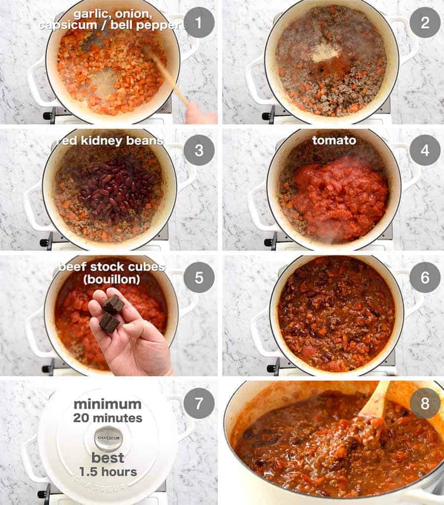 Preparation steps for Chili