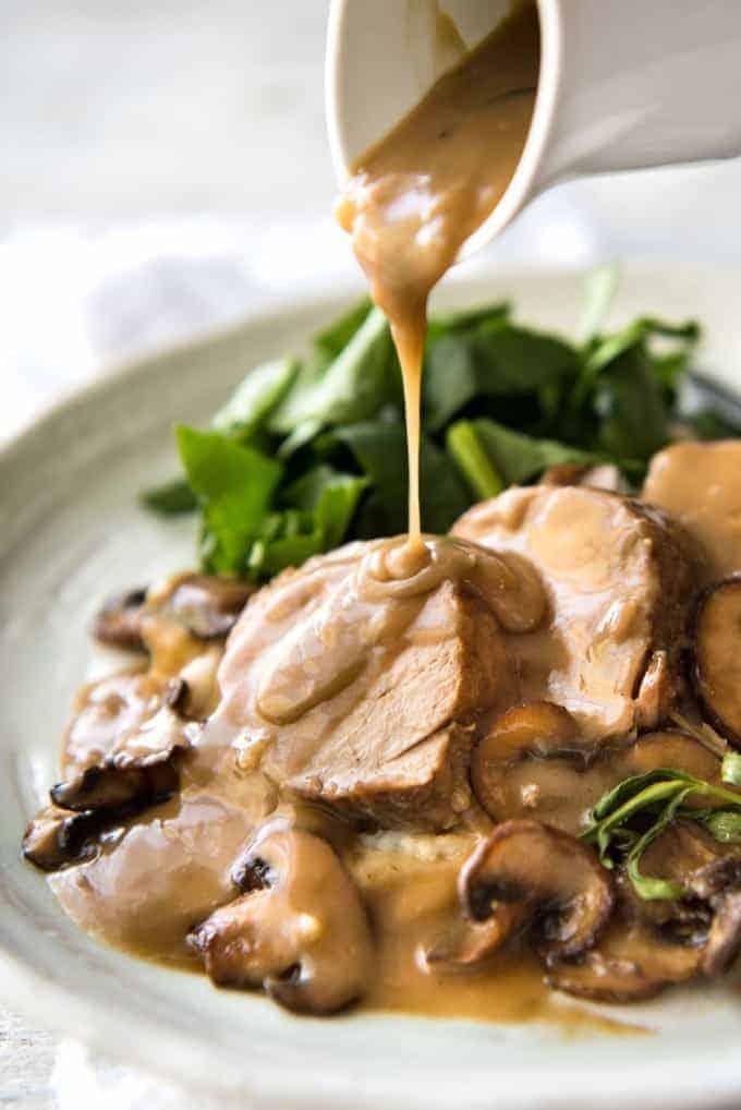 Pork Tenderloin served with a Creamy Marsala Mushroom Sauce - so easy to make, yet impressive enough for company! recipetineats.com