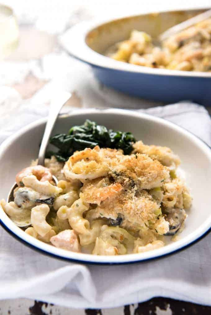 Seafood Gratin Pasta Bake - mixed seafood (your choice!) and pasta baked in a creamy sauce with a crunchy breadcrumb and cheese topping! recipetineats.com