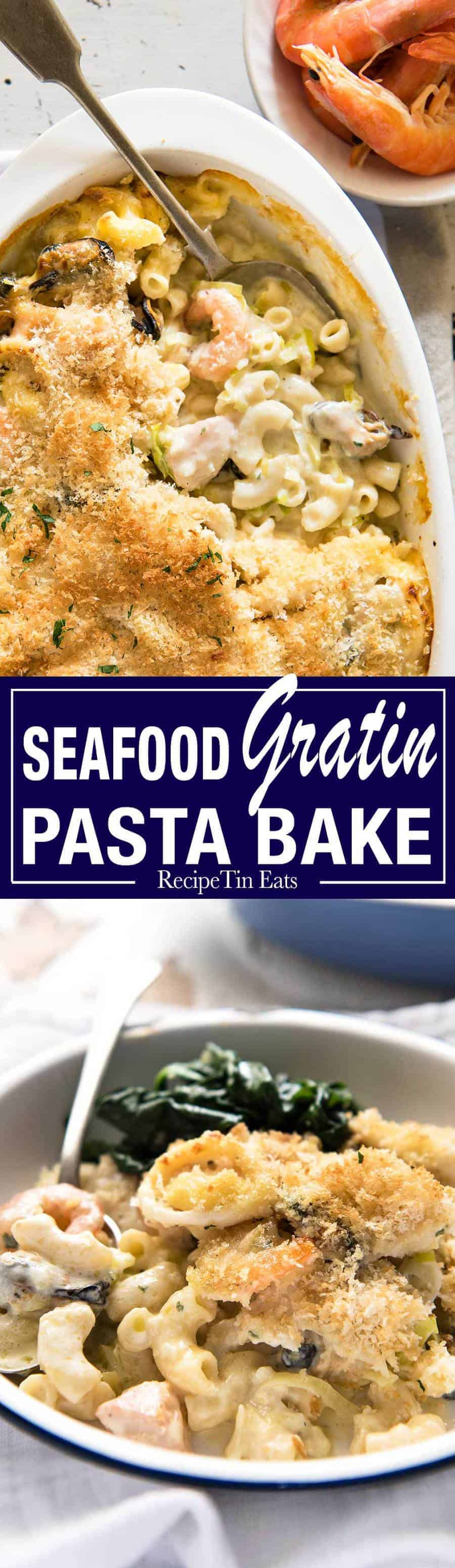 Seafood Gratin Pasta Bake - mixed seafood (your choice!) and pasta baked in a creamy sauce with a crunchy breadcrumb and cheese topping! www.recipetineats.com