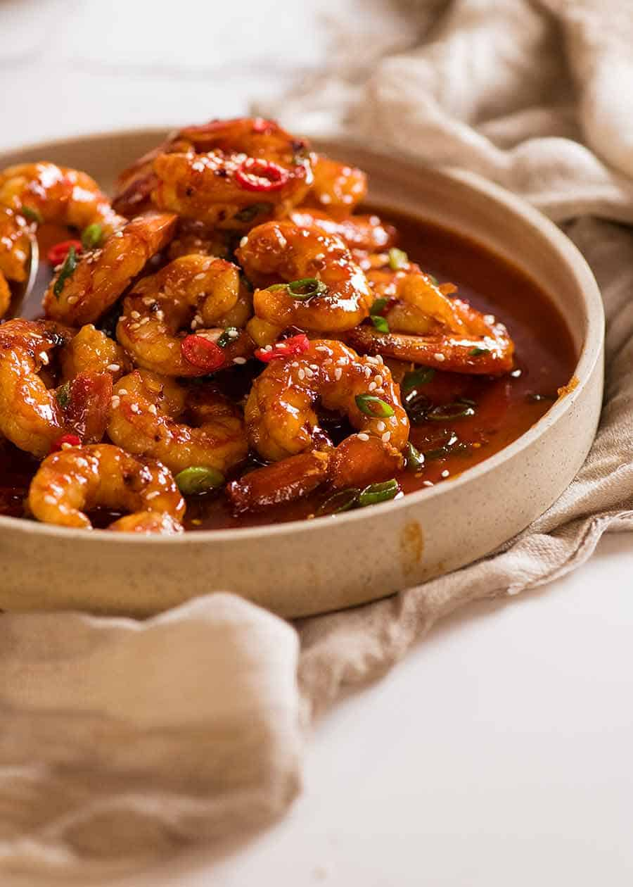 Chilli Garlic Prawns on a plate, ready to be served