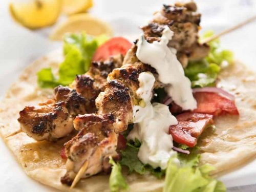 Chicken Souvlaki With Tzatziki Recipetin Eats