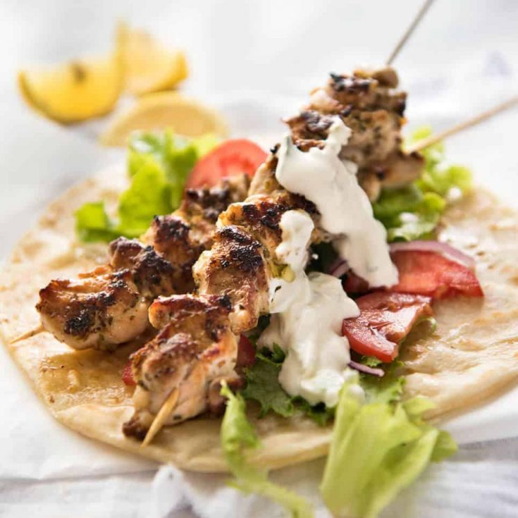 Chicken Souvlaki - Made with chicken marinated in lemon, garlic and oregano, it's so easy to make this Greek favourite at home! www.recipetineats.com