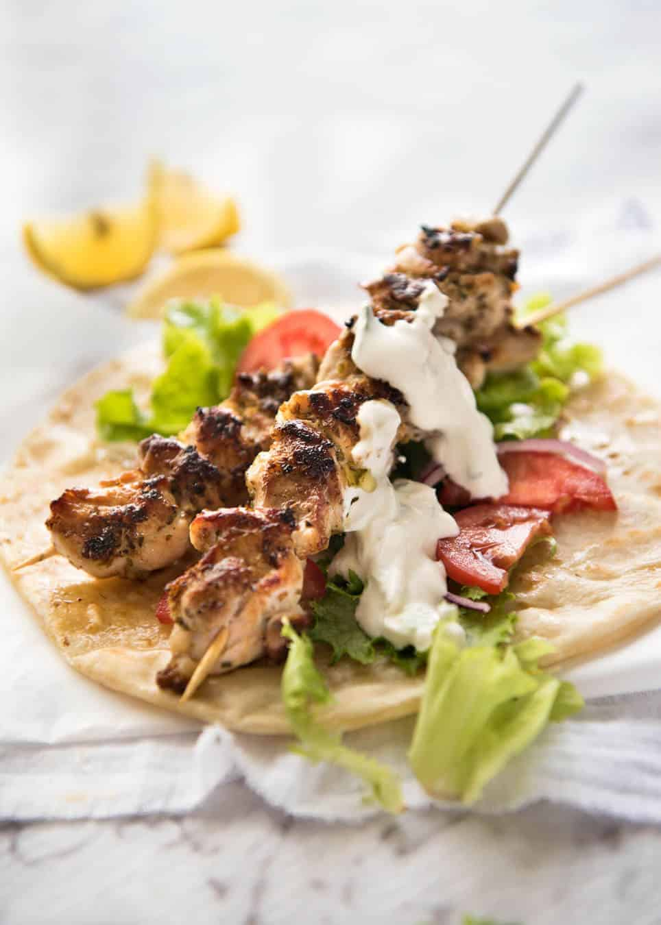 Chicken Souvlaki - Made with hen marinated in lemon, garlic and oregano, it be so basic to make this Greek favorite at home! recipetineats.com