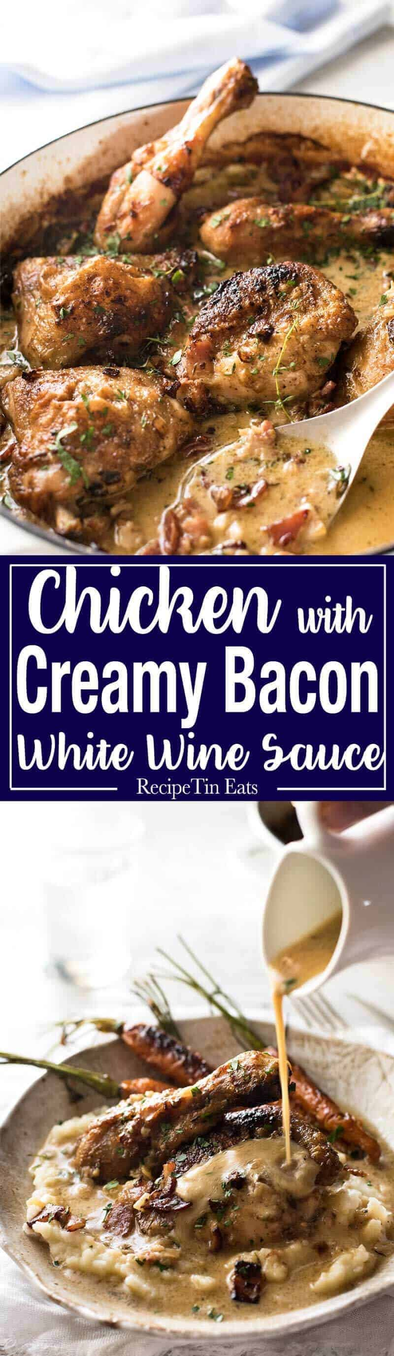 Chicken with Creamy White Wine Sauce and Bacon - So easy to prepare, then just let it braise in the oven until the chicken is tender. The sauce is incredible! recipetineats.com