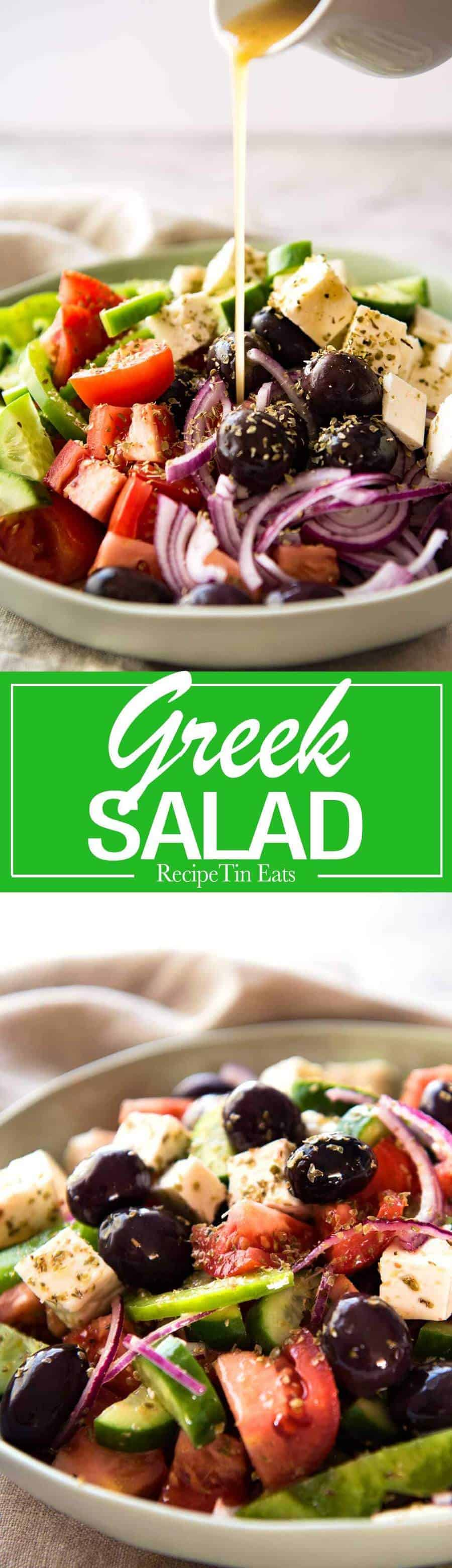A classic Greek Salad with plump olives and a beautiful homemade Greek Salad Dressing. www.recipetineats.com