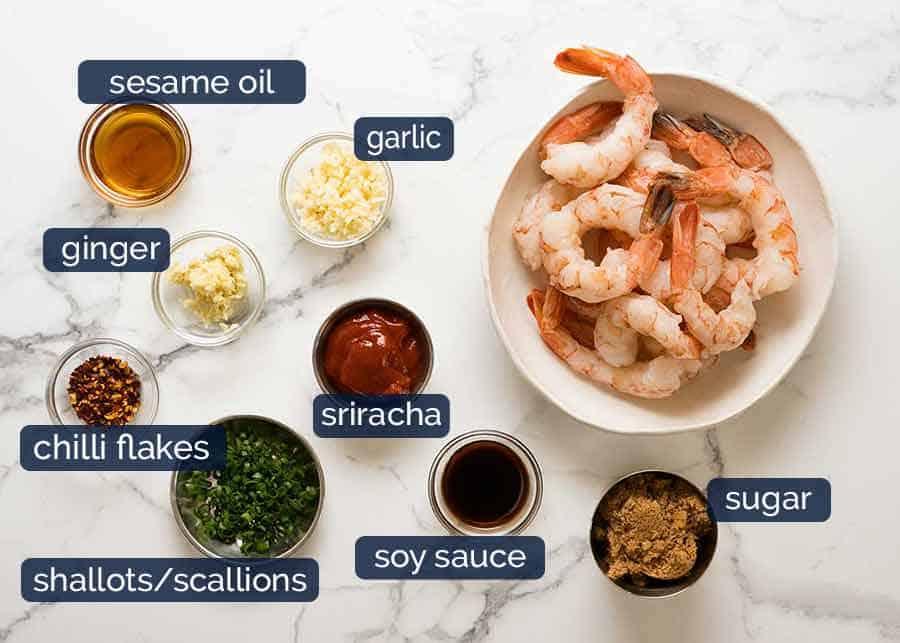 Ingredients for Asian Chilli Garlic Prawns (Shrimp) recipe