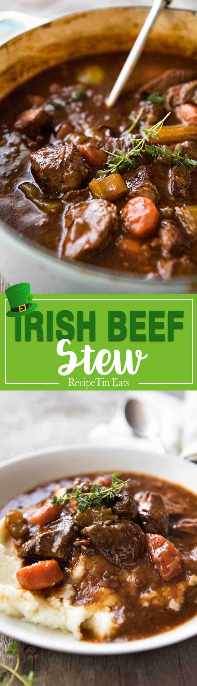 Irish Beef and Guinness Stew - The king of all stews! Fork tender beef in a rich thick sauce. Easy to make, just requires patience! Slow cooker, stove, oven and pressure cooker directions provided. recipetineats.com
