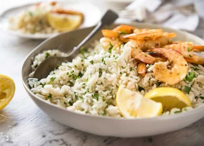 This Lemon Rice Pilaf is so delicious, it can be eaten plain! Lovely bright fresh lemon flavours with herbs. recipetineats.com