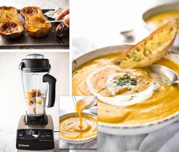No Chop Roast Pumpkin Soup - An intensely flavoured creamy pumpkin soup made without chopping / peeling pumpkin. recipetineats.com