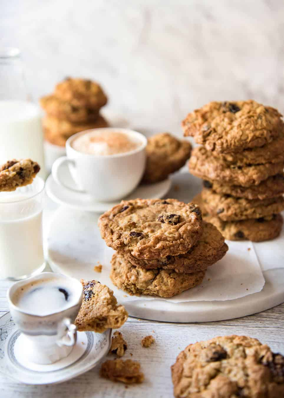 Oatmeal Raisin Cookie recipe - for perfect big, soft, moist, CHEWY Oatmeal Raisin Cookies! www.recipetineats.com