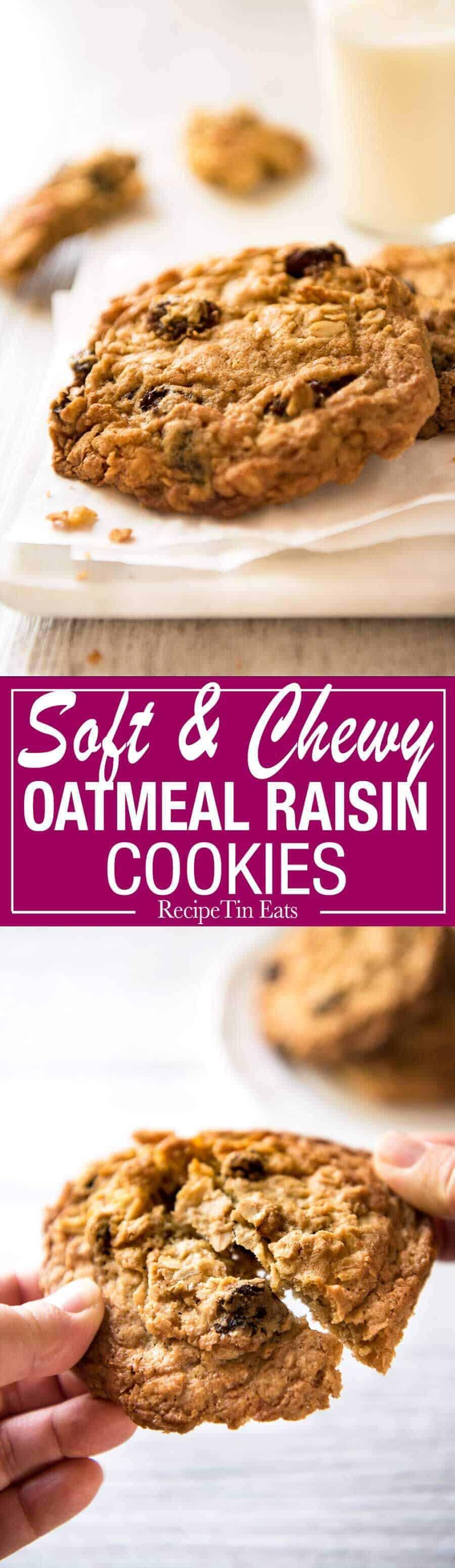 Oatmeal Raisin Cookie recipe - for perfect big, soft, moist, CHEWY Oatmeal Raisin Cookies! recipetineats.com