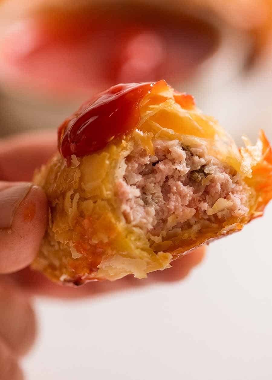 Close up showing the inside of Sausage Rolls