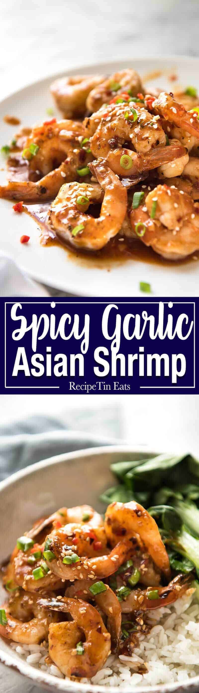 Asian Chilli Garlic Prawns - Juicy prawns in a sweet, sticky, spicy, garlicky sauce. Dinner on the table in 10 minutes! recipetineats.com