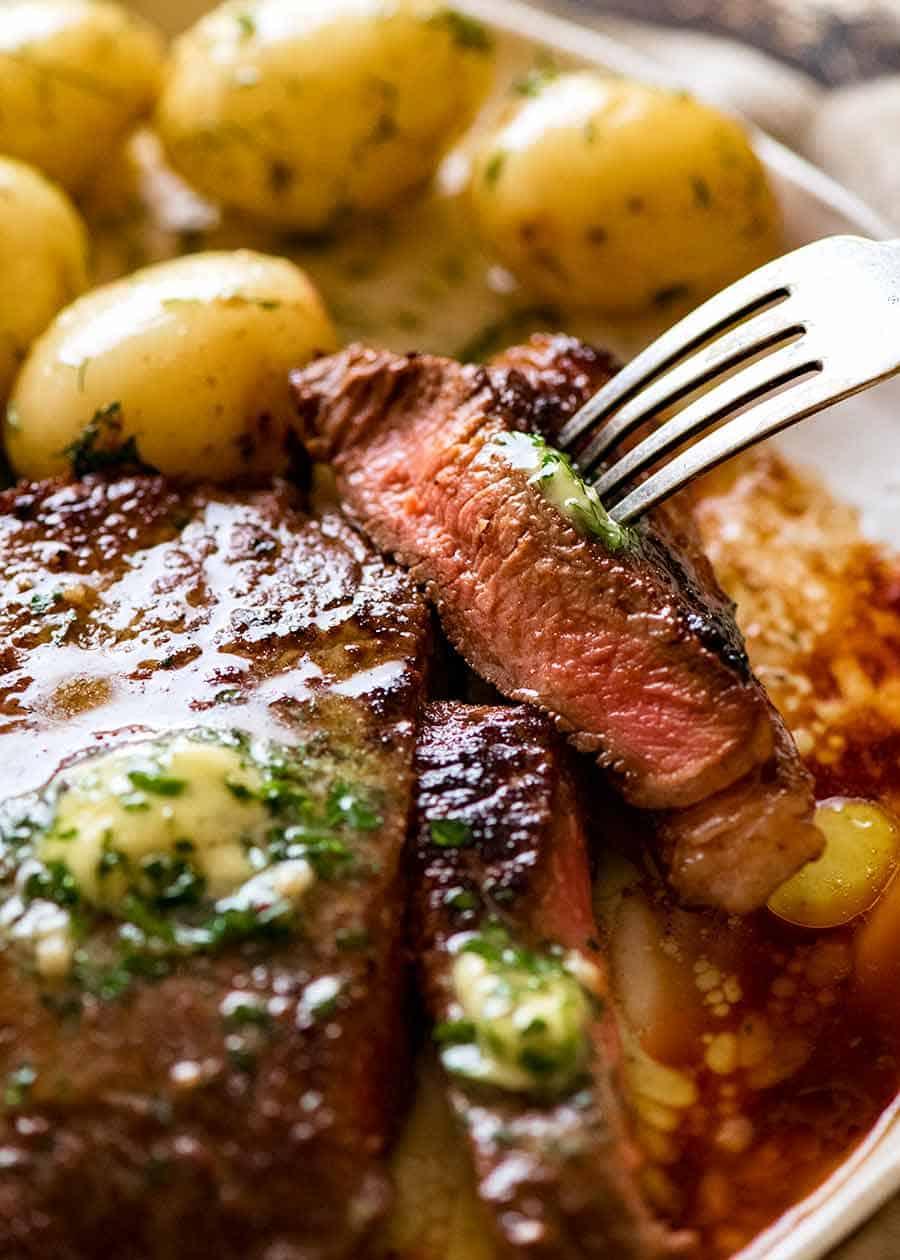 Showing juicy inside of steak after using Steak Marinade