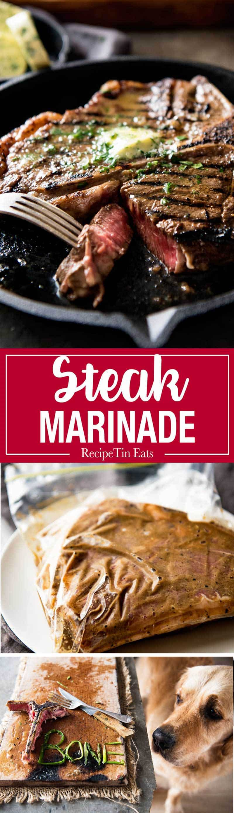 Steak Marinade - A simple, magical marinade that truly tenderises, while adding flavour AND making the steak juicy. Genius! recipetineats.com